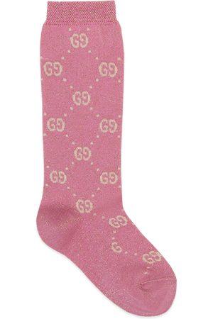Gucci Chaussettes pour enfant en lamé de coton à motif GG