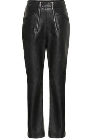 Stella McCartney Pantalon à taille haute en cuir synthétique
