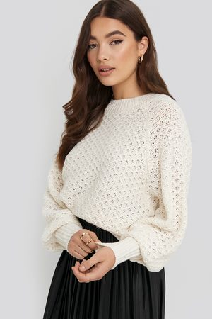 NA-KD Batwing Knitted Sweater - White