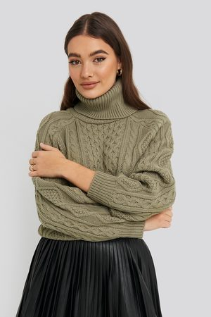 NA-KD High Neck Cable Knitted Sweater - Green