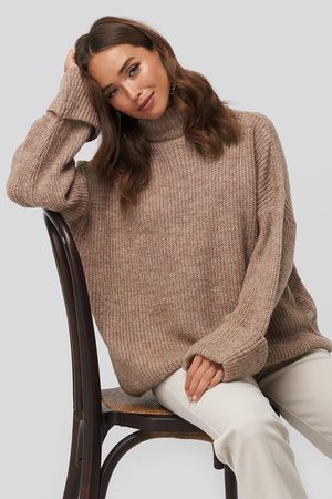NA-KD Folded Sleeve Turtle Neck Knitted Sweater - Pink