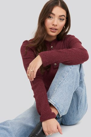 NA-KD Button Detail Long Sleeve Ribbed Top - Red