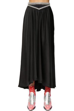 Paco rabanne Satin Midi Skirt W/ Crystals