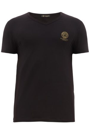 VERSACE T-shirt à col V en coton mélangé