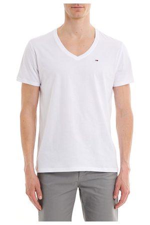 Tommy Hilfiger T-shirt droit en coton uni à col V Ligne Tommy Jeans