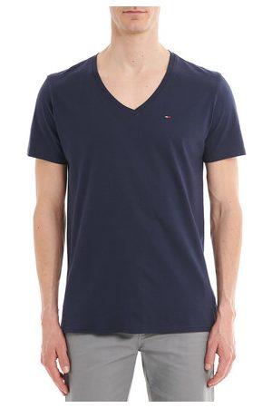 Tommy Hilfiger Homme Coupe droite - T-shirt droit en coton uni à col V Ligne Tommy Jeans