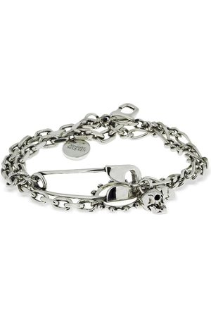Alexander McQueen Chain Bracelet W/safety Pin & Charms