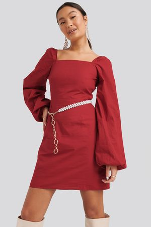 NA-KD Square Neck Balloon Sleeve Dress - Red