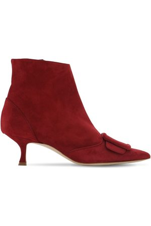 "Manolo Blahnik Bottines En Daim ""baylow"" 50 Mm"