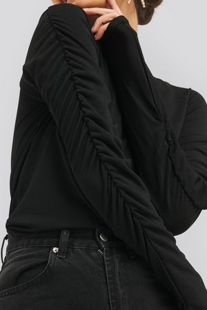 NA-KD Detailed Sleeve Jersey Top - Black