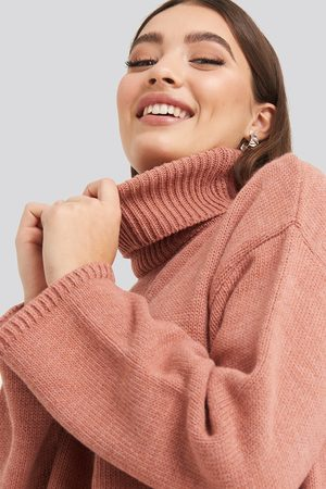 NA-KD Wide Sleeve Oversized Roll Neck Sweater - Pink