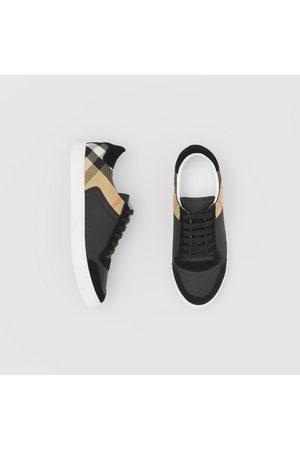 Burberry Homme Baskets - Sneakers en cuir, cuir velours et House check, Size: 39, Black
