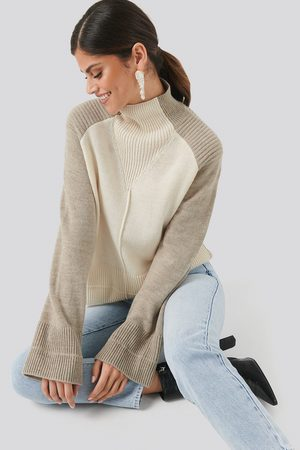 NA-KD Femme Pulls - Wool Blend Colour Block Sweater - Multicolor