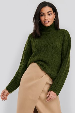 NA-KD High Neck Heavy Knitted Sweater - Green