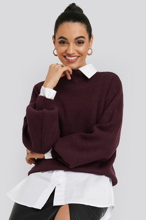 NA-KD High Neck Big Sleeve Knitted Sweater - Red