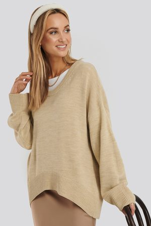 NA-KD Wool Blend Oversized Wide Neck Sweater
