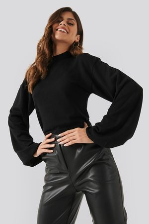 NA-KD Balloon Sleeve Cropped Sweater - Black