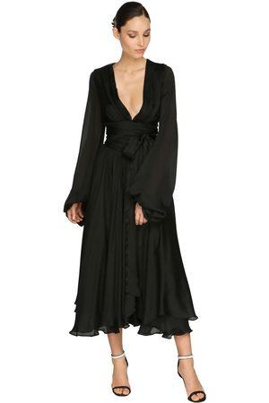 ALEXANDRE VAUTHIER Satin Chiffon Dress