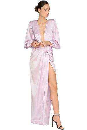 ALEXANDRE VAUTHIER Robe Longue En Satin Stretch Embelli