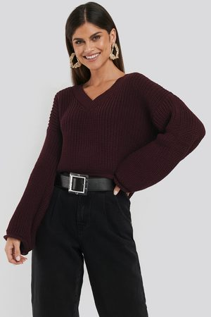 NA-KD Cropped V-neck Knitted Sweater - Red