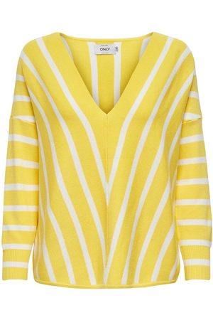 Only À Rayures Pull En Maille Women Yellow