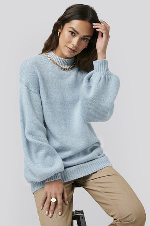 NA-KD Oversized Long knitted Sweater - Blue