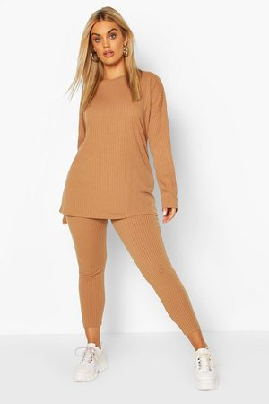 Boohoo Plus Oversized Rib Top & Legging Co-Ord