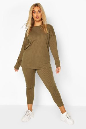 Boohoo Ensemble Legging Et Top Côtelé Oversize Plus