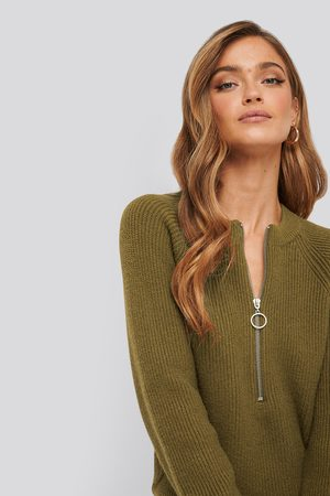 NA-KD Zipper Front Knitted Sweater - Green