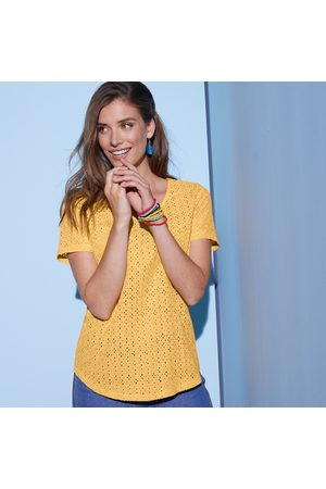 Colors & co Tee-shirt col V broderie anglaise