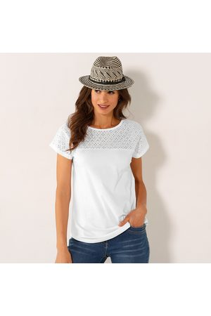 Colors & co Femme Manches courtes - Tee-shirt broderie anglaise manches courtes