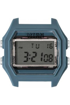 I Am The Watch Montre IAM-112 - Boîtier Bleu Canard Aspect Gomme Boutons Argent / Ecart Corne 20 mm