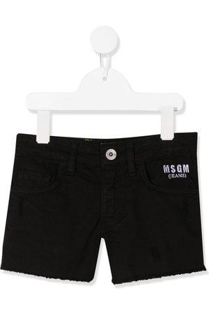 Msgm Embroidered logo denim shorts