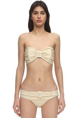 Lisa Marie Fernandez Bikini En Seersucker Avec Double Boucle