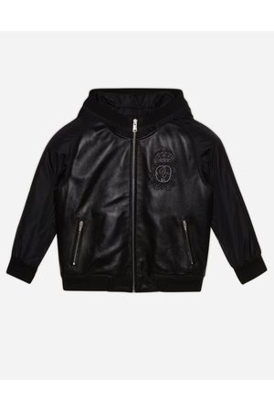 Dolce & Gabbana Blousons et Manteaux - HOODED BOMBER JACKET IN LEATHER AND NYLON WITH LOGO PATCH