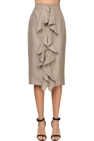 Max Mara Ruffled Light Silk Shantung Pencil Skirt