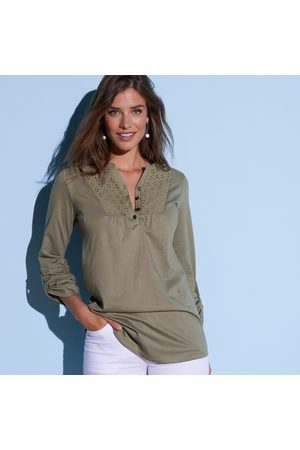 Colors & co Tee-shirt boutonné manches longues broderie anglaise