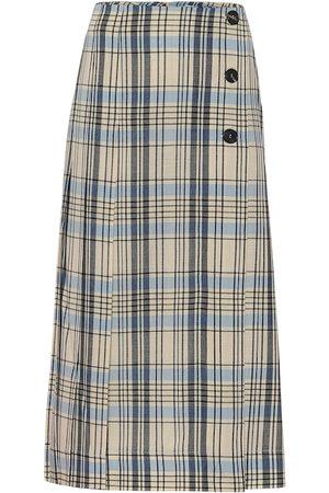 Victoria Beckham Jupe midi en laine à carreaux
