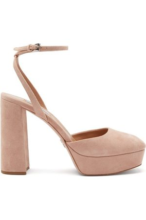 Prada Femme Sandales - Sandales carrées en daim à plateforme
