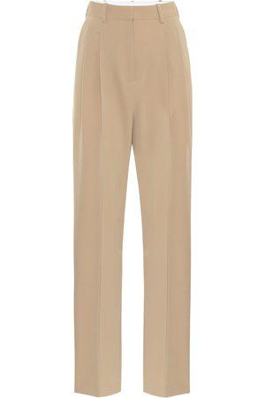 Stella McCartney Pantalon droit à taille haute en laine