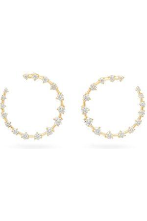 Jade Trau Créoles en 18 carats et diamants Crescent