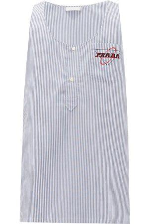 Prada Chemise en coton rayé à imprimé logo