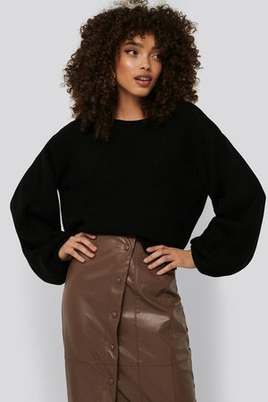 NA-KD Knitted Short Puff Sleeve Sweater - Black
