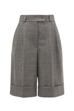 Miu Miu Femme Shorts - Short à motif pied-de-poule ample plissé