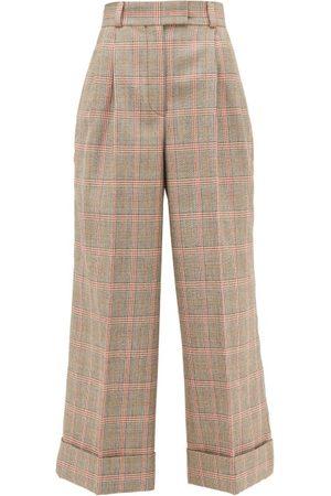 Miu Miu Pantalon ample en laine à motif Prince de Galles