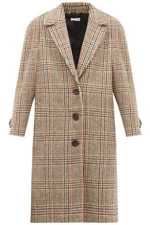 Miu Miu Manteau boutonné en tweed de laine à carreaux