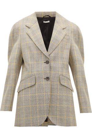 Miu Miu Blazers - Blazer en laine vierge à imprimé Prince de Galles