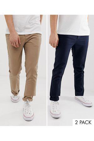 ASOS Lot de 2 pantalons chino ajustés - marine et taupe - ÉCONOMIE