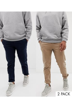 ASOS ASOS - Lot de 2 pantalons chino ajustés - Bleu marine et taupe