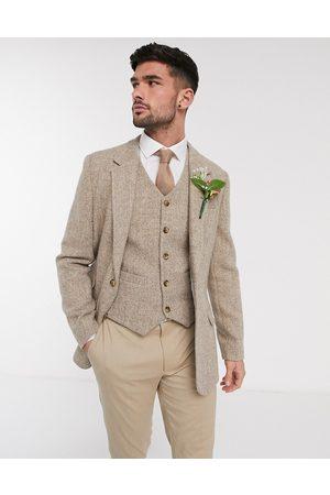 ASOS Blazer de mariage ajusté en tweed Harris avec chevrons en laine